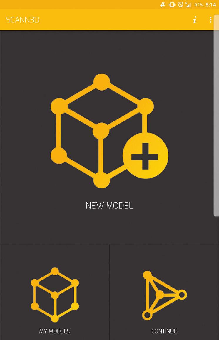 У приложения Scann3D простой и понятный интерфей