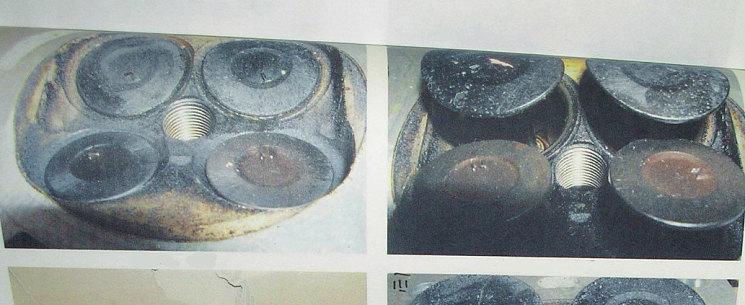 Как вы думаете, что это? Это так хитрецы от экспертизы иллюстрируют заклинивание «осмоленных» клапанов во втулках (слева) по сравнению с незаклиненными клапанами (справа). Но в своем стремлении во что бы то ни стало угодить «хозяину» они совсем забыли согласовать с ним свои перлы о «смоляном горении»: «хозяин» сам измерил компрессию в цилиндрах и получил справа 9 кг/см 2 , а слева – 7,5 кг/см